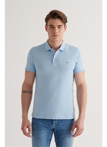 Avva Erkek  Polo Yaka Düz Tişört E001004.78 Mavi